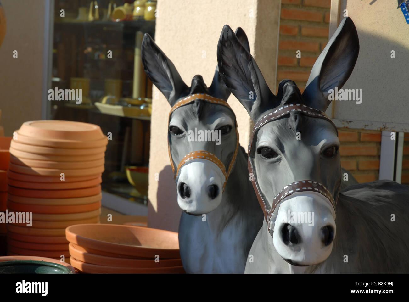 Genial Garden Statue Of Two Donkeys, Javea / Xabia, Alicante Province, Comunidad  Valenciana,