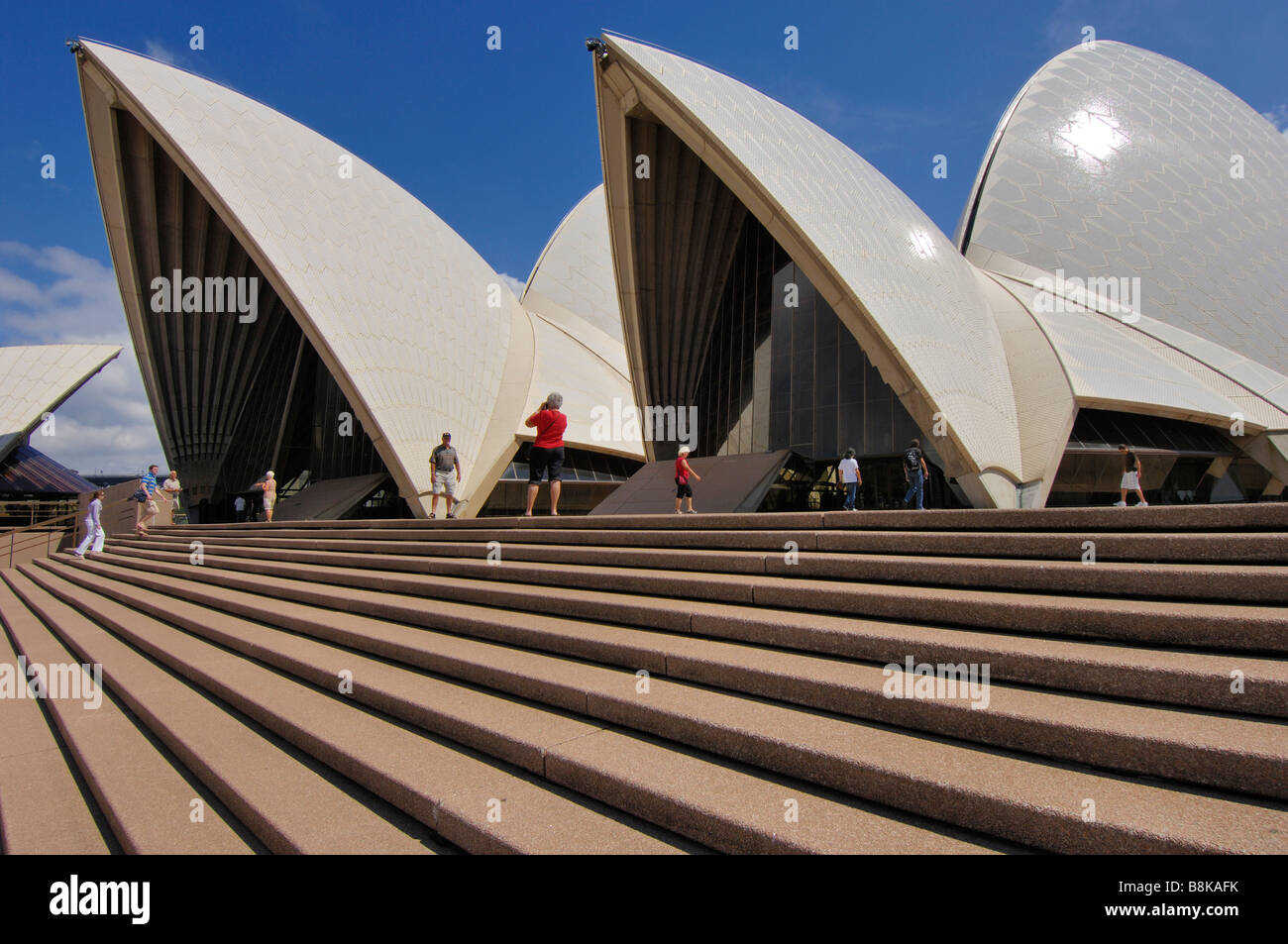 A view of part of the Sydney Opera House, designed by the Danish architect, Jørn Oberg Utzon. New South Wales, - Stock Image