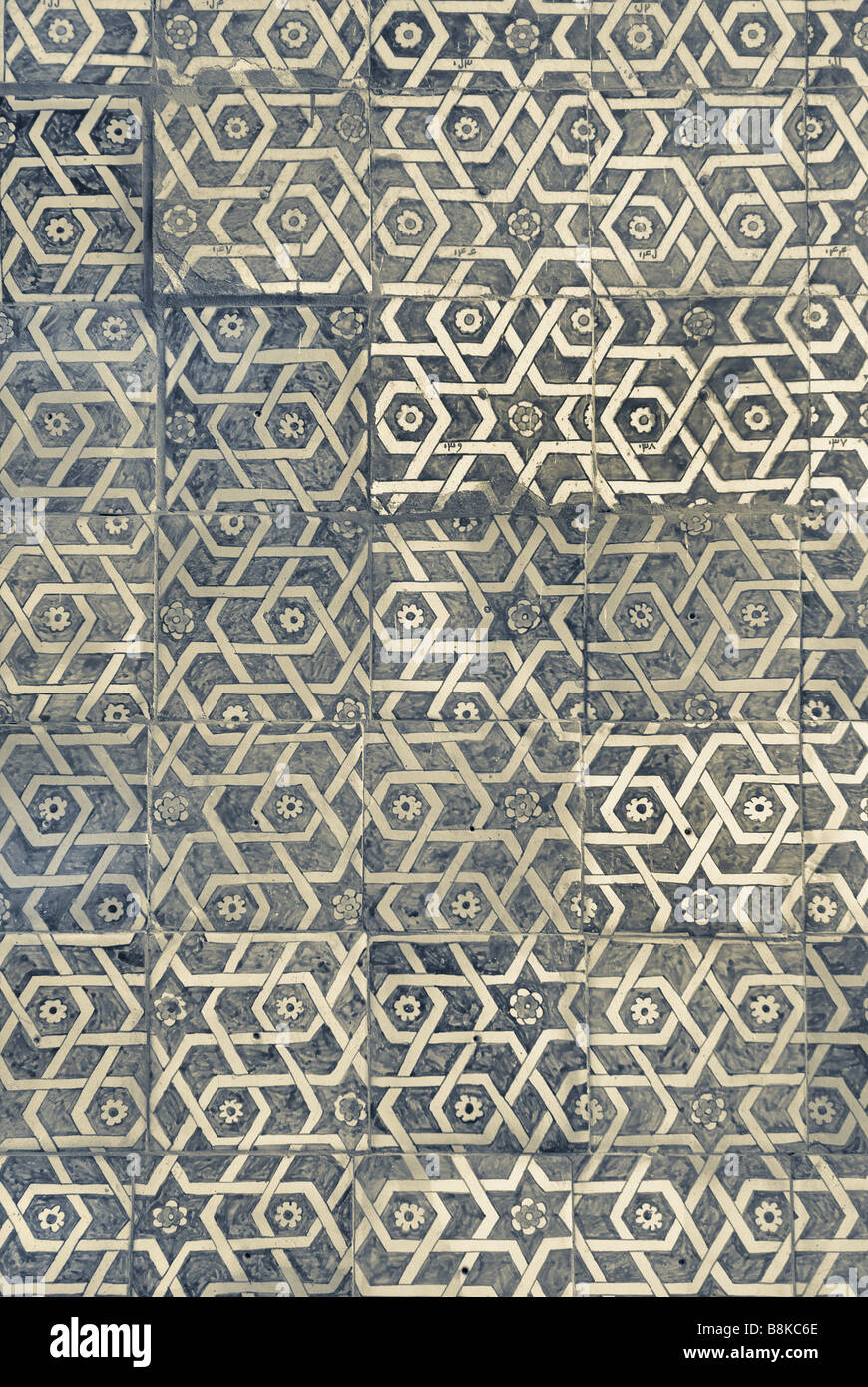 Tiled background with oriental ornaments - Stock Image