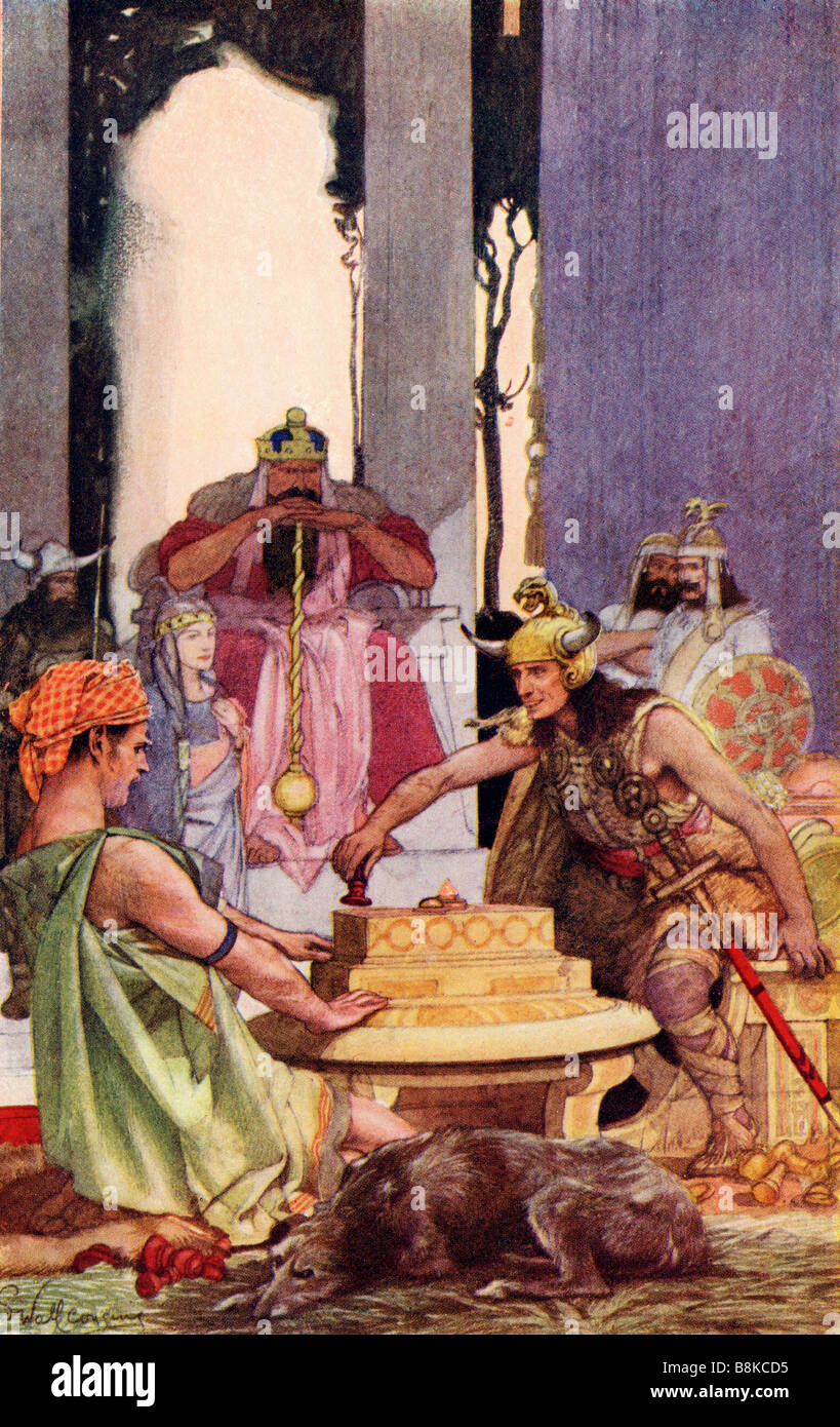 Lugh's Enclosure Coloured illustration after the painting by E Wallcousins - Stock Image