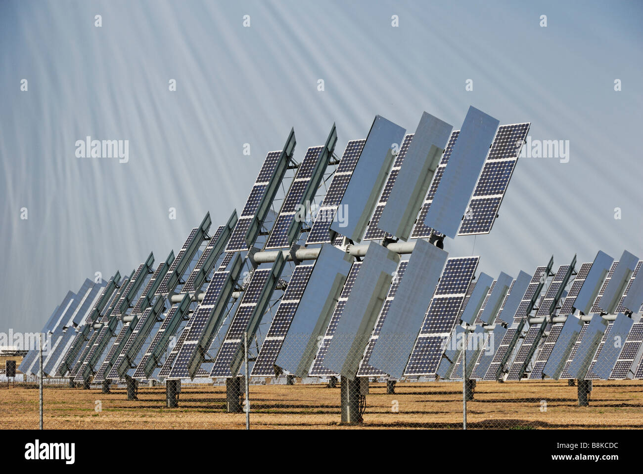 Solúcar power plant photovoltaic PV concentration tracker units which produce clean from the sun Solúcar - Stock Image