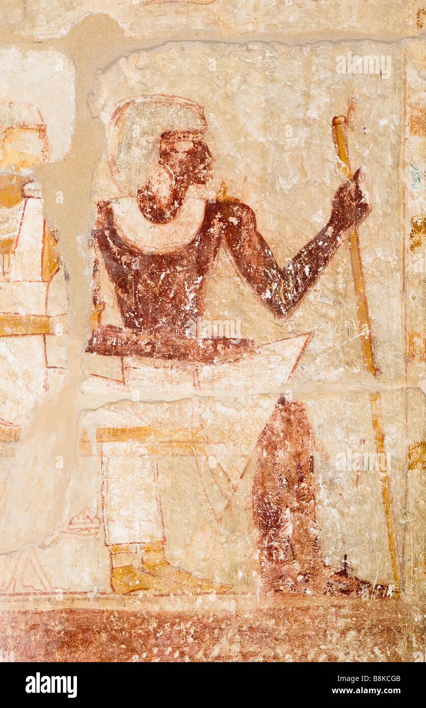 image of pharaoh traditional egyptian wall painting - Stock Image