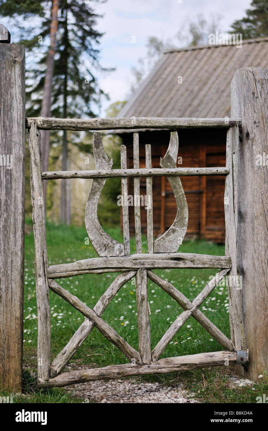 Entrance of historic Bronze Age farm in Gotland Sweden May 2008 - Stock Image