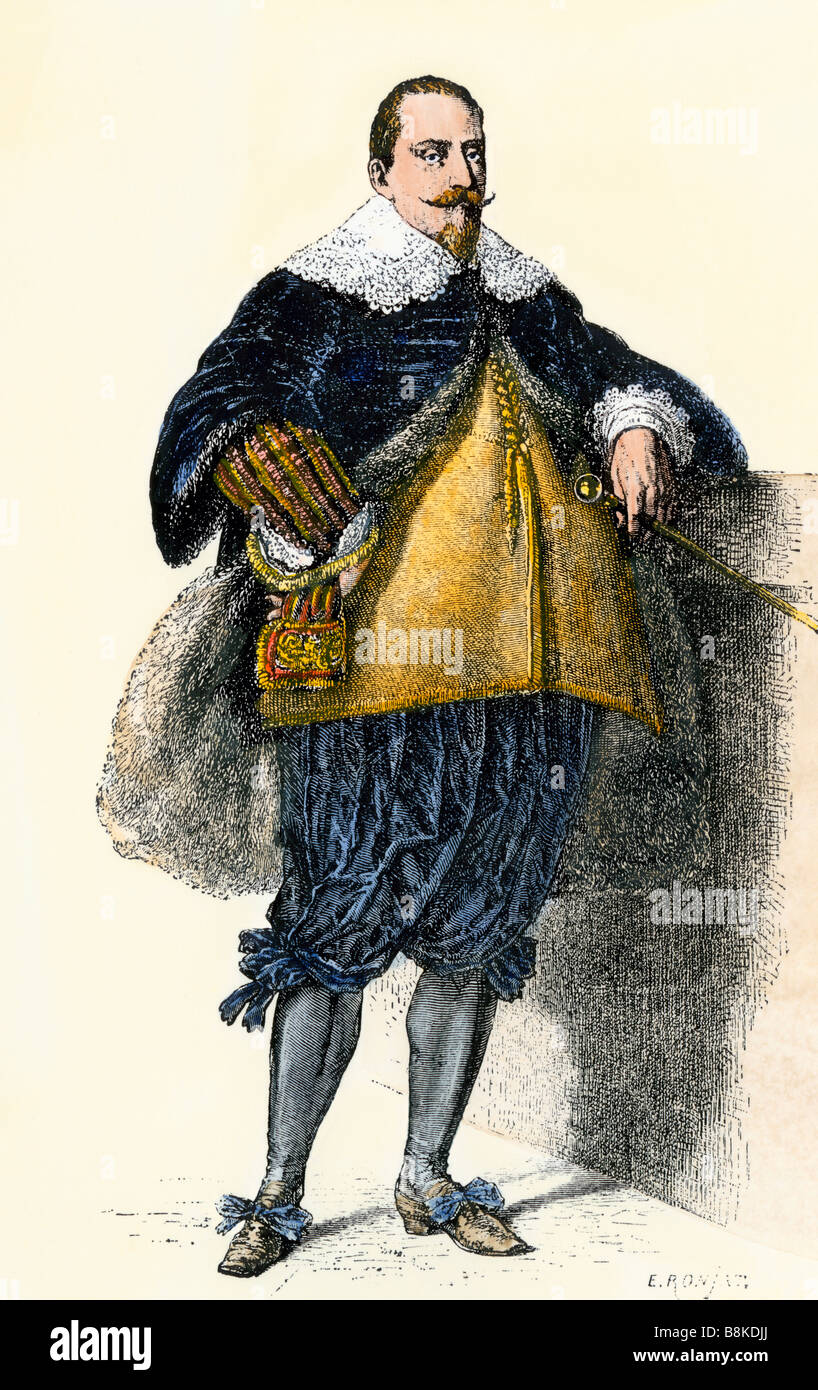 King of Sweden Gustavus Adolphus. Hand-colored woodcut - Stock Image