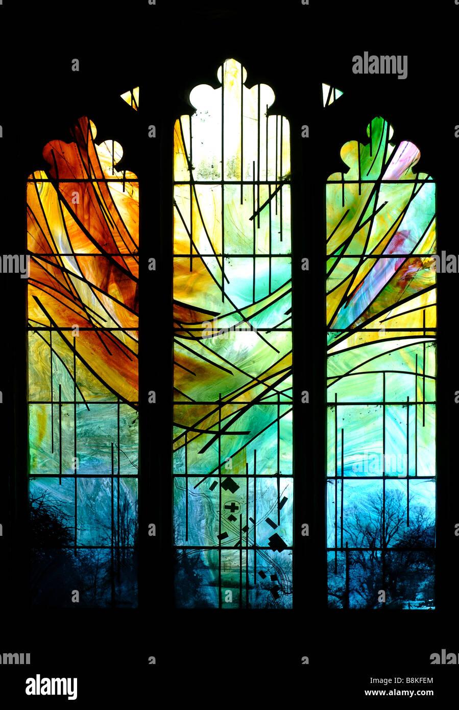 Millennium window, St. Michael and All Angels Church, Winwick, Northamptonshire, England, UK - Stock Image