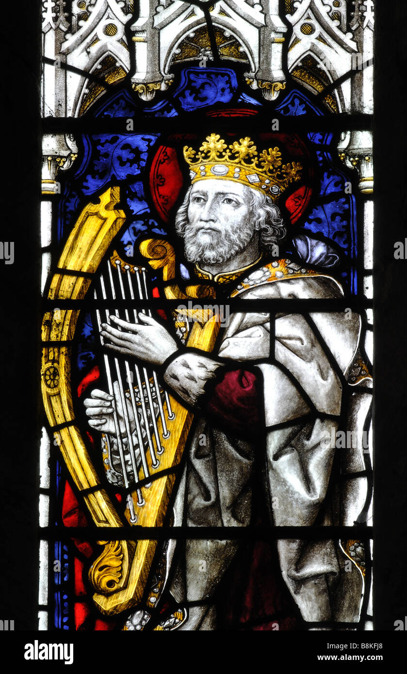 King David depicted in stained glass, St. Michael and All Angels Church, Winwick, Northamptonshire, England, UK - Stock Image