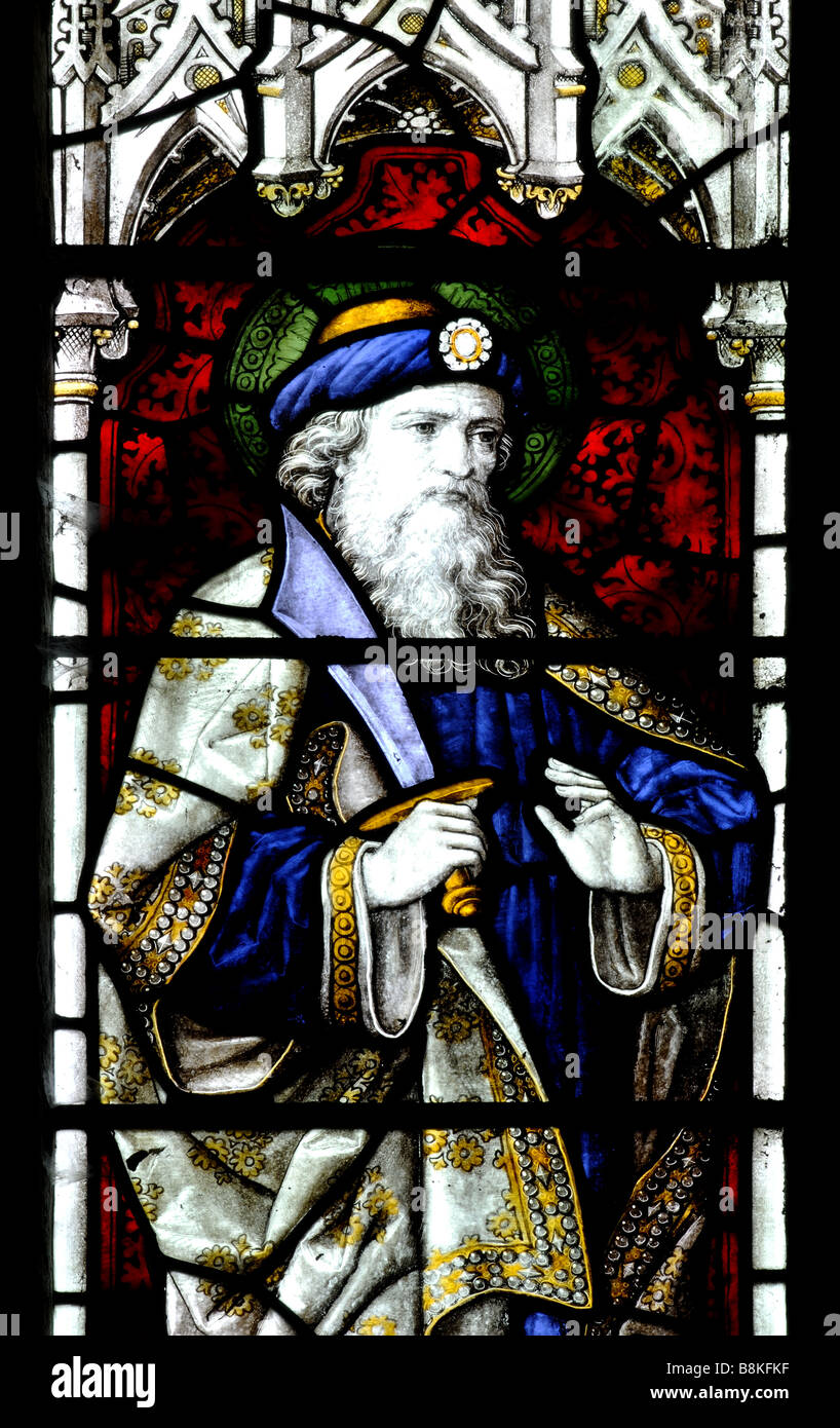Abraham depicted in stained glass, St. Michael and All Angels Church, Winwick, Northamptonshire, England, UK - Stock Image