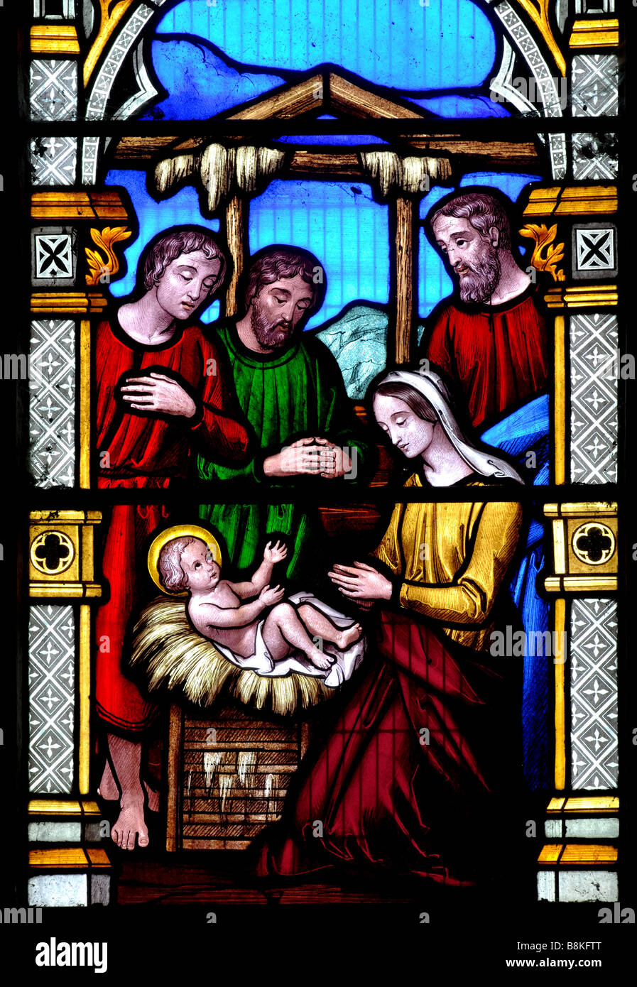 Nativity scene stained glass, St Mary and St Leodegarius Church, Ashby St. Ledgers., Northamptonshire, England, Stock Photo