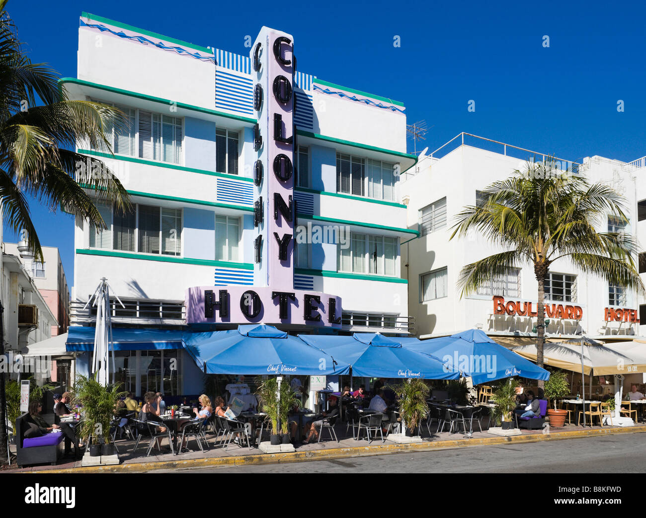 Art deco hotels on Ocean Drive, South Beach, Miami Beach, Gold Coast, Florida, USA - Stock Image