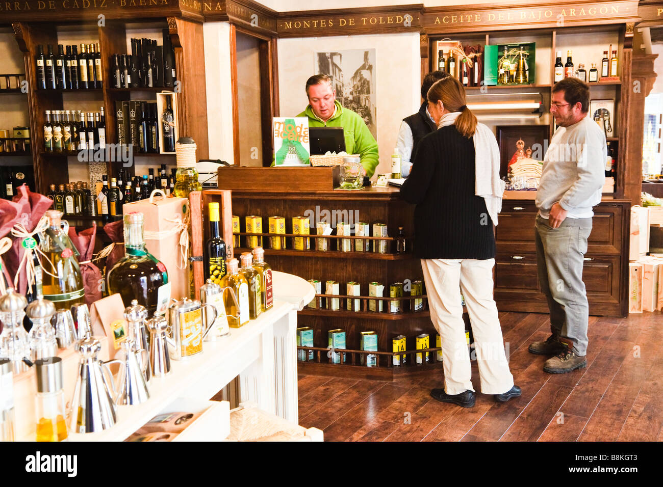 Marbella Malaga Province Costa del Sol Spain Specialty shopping for olive oil and olive oil products - Stock Image