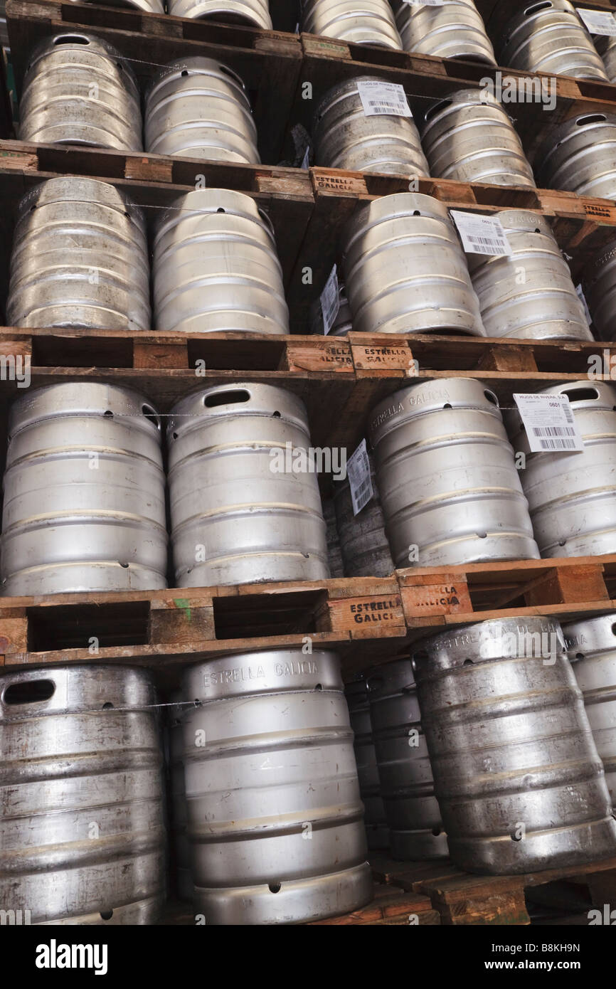 Barrels of Spanish beer in warehouse - Stock Image