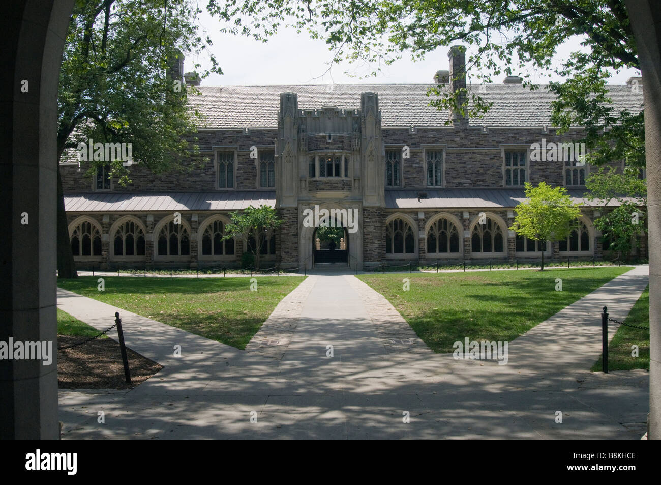 Three footpaths and buildings on the campus of Princeton University,Princeton; NJ; New; Jersey; USA - Stock Image
