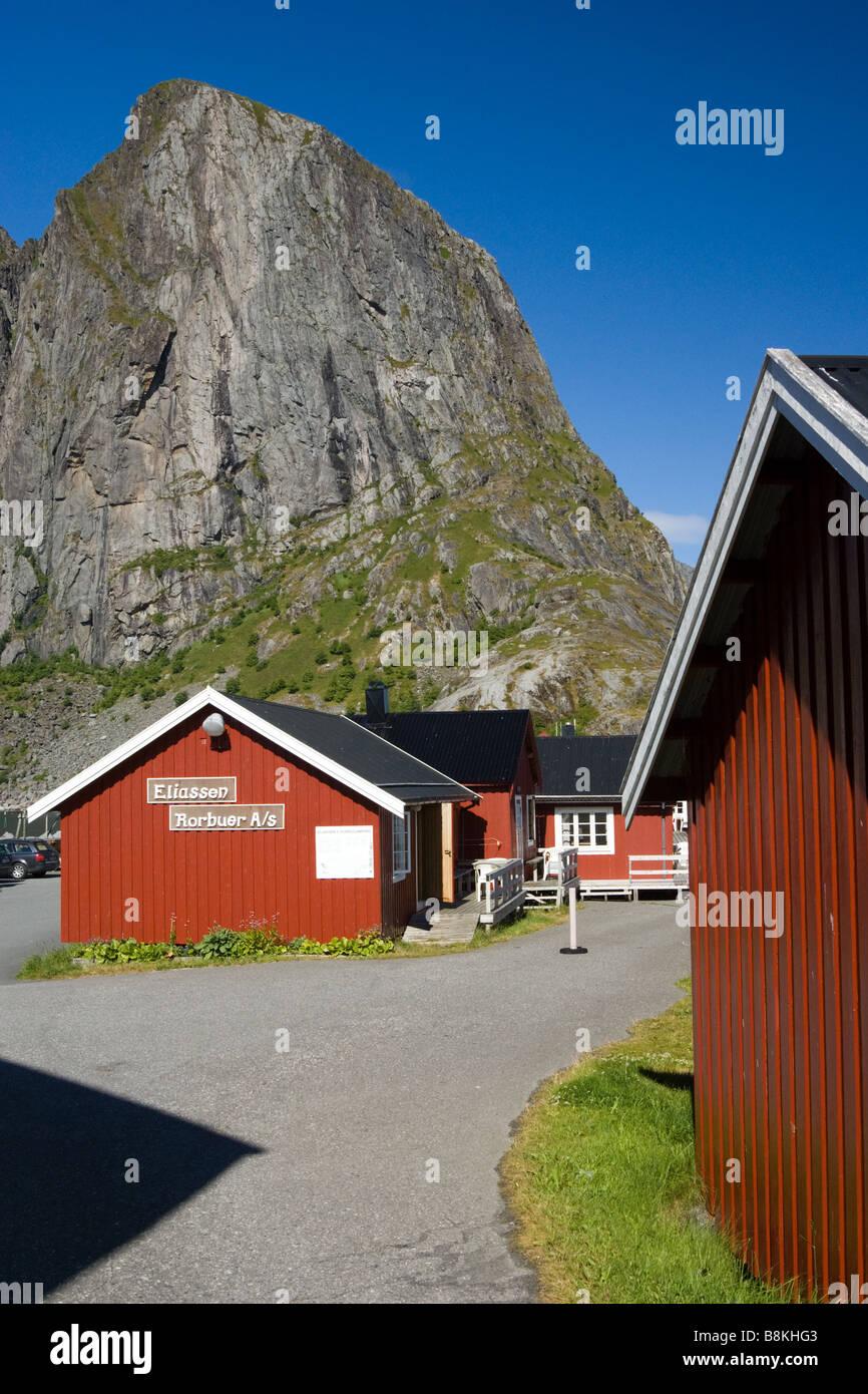 Fisherman's cabins (rorbuer) in Hamnøy, Moskenesøya, Lofoten, Nordland, Norway, Scandinavia Stock Photo