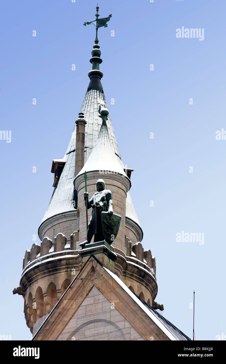 Neuschwanstein Castle Turret and Watching Guard - Stock Image