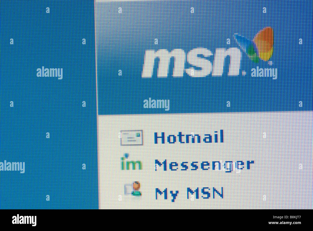 Close up of MSN web page on a computer screen - Stock Image