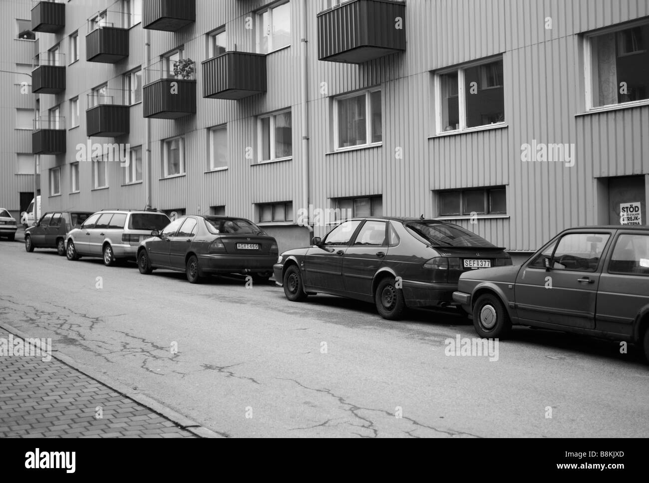 Parked SAAB 9-3 in Helsingborg, Sweden. Picture taken during their big crisis in February 2009. FOR EDITORIAL USE - Stock Image