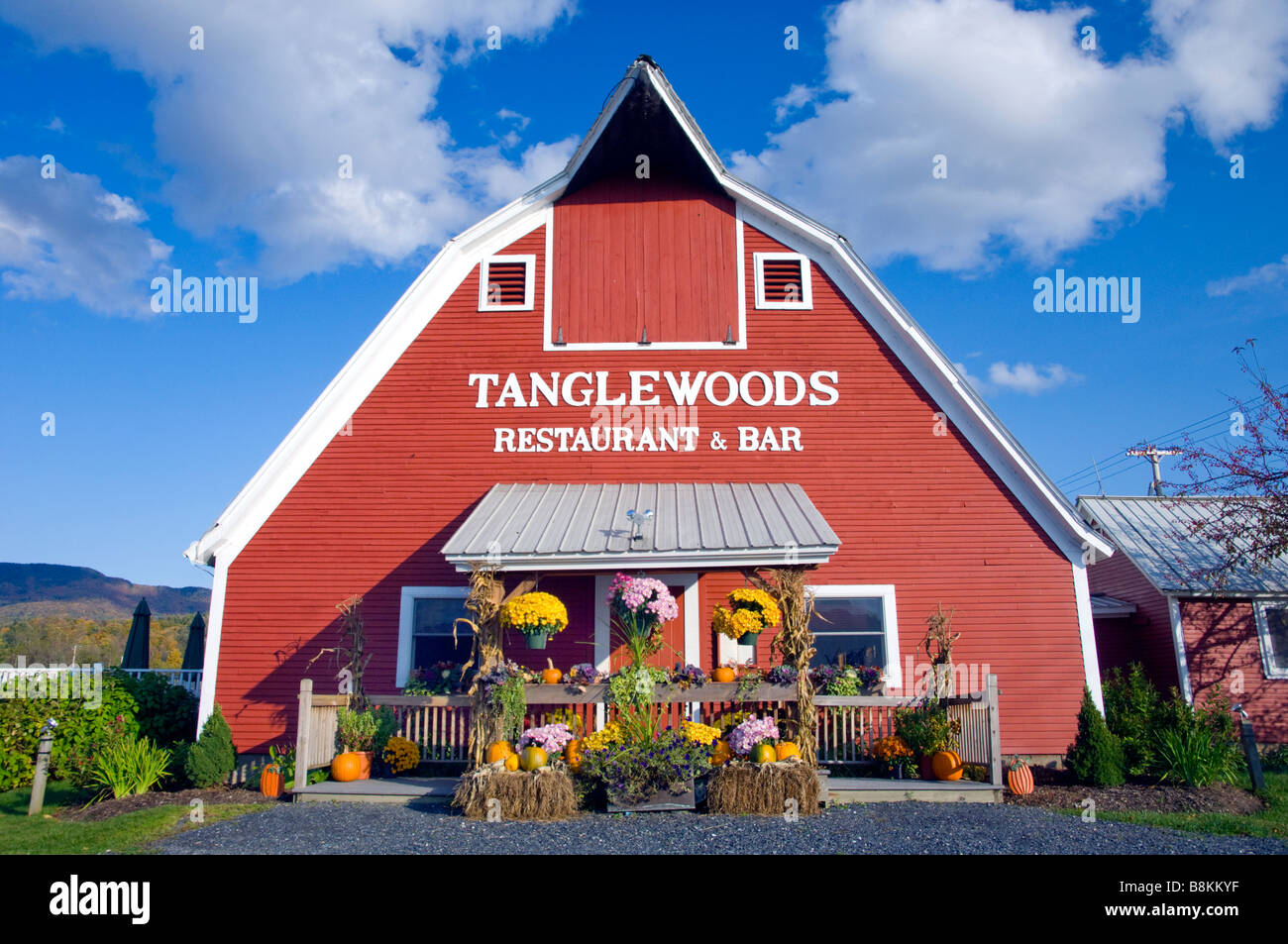 Tanglewoods restaurant and bar in a red barn in Waterbury, Vermont