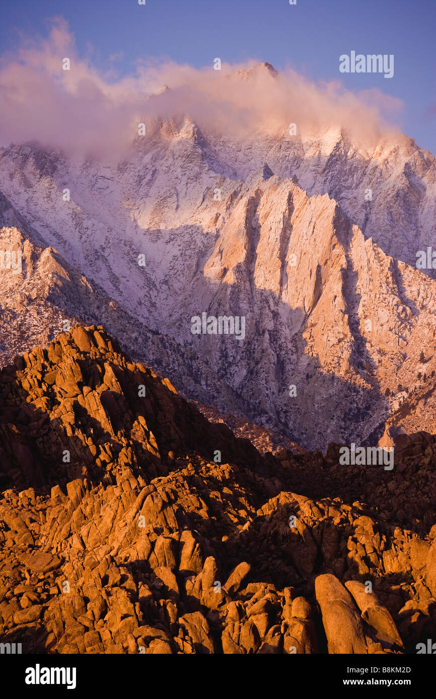 Lone Pine Peak and the Alabama Hills at sunrise after an autumn snow storm Sierra Nevada Mountains California - Stock Image