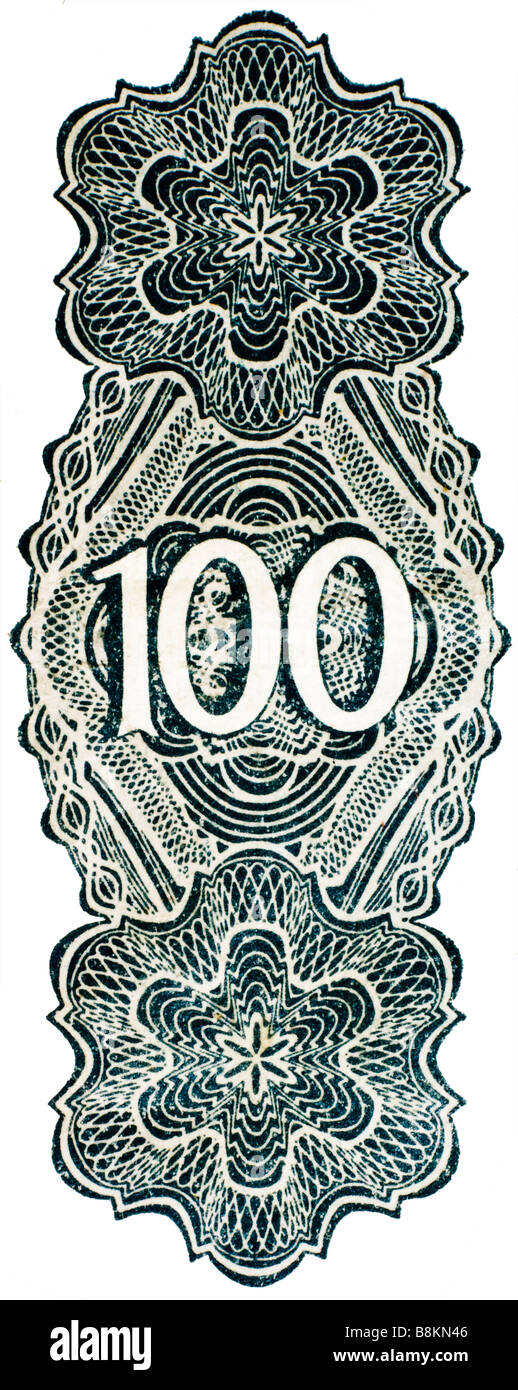 Number 100, from German 100 Mark banknote of 1922 - Stock Image