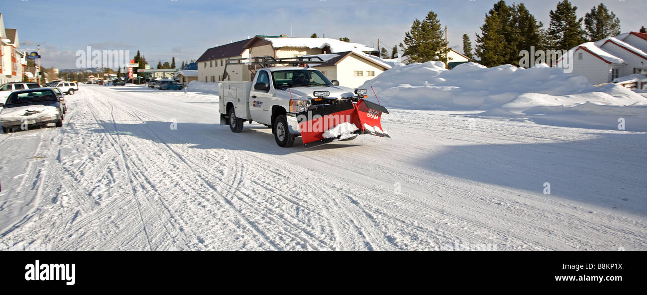Snow plough West Yellowstone town, Wyoming. - Stock Image