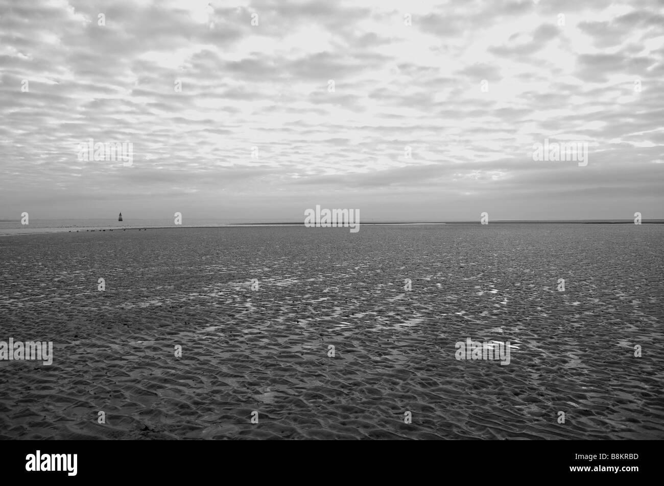 The sands at Sunderland Point, Lune estuary, Morecambe Bay, Lancashire, UK. Stock Photo