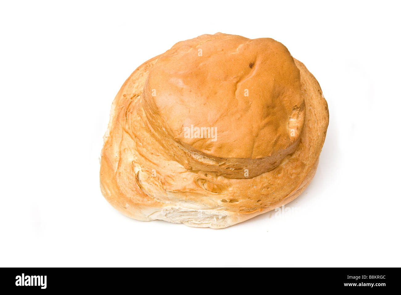 Bloomer loaf of bread Isolated on a white studio background - Stock Image