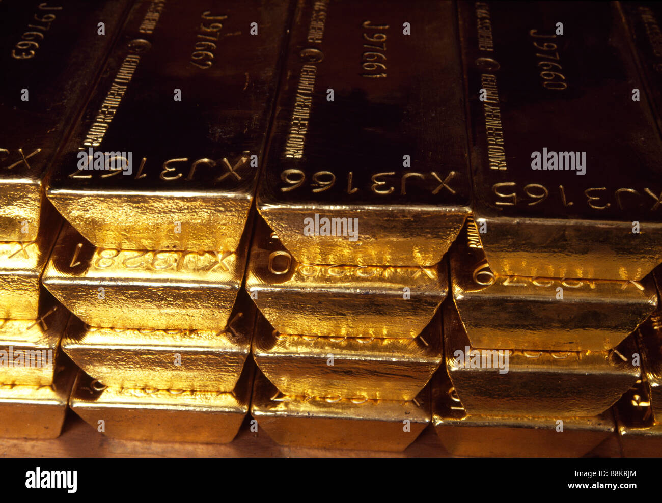 The Bank of England underground Gold Vaults in London Stacks of Gold Bars are arranged on storage shelves - Stock Image