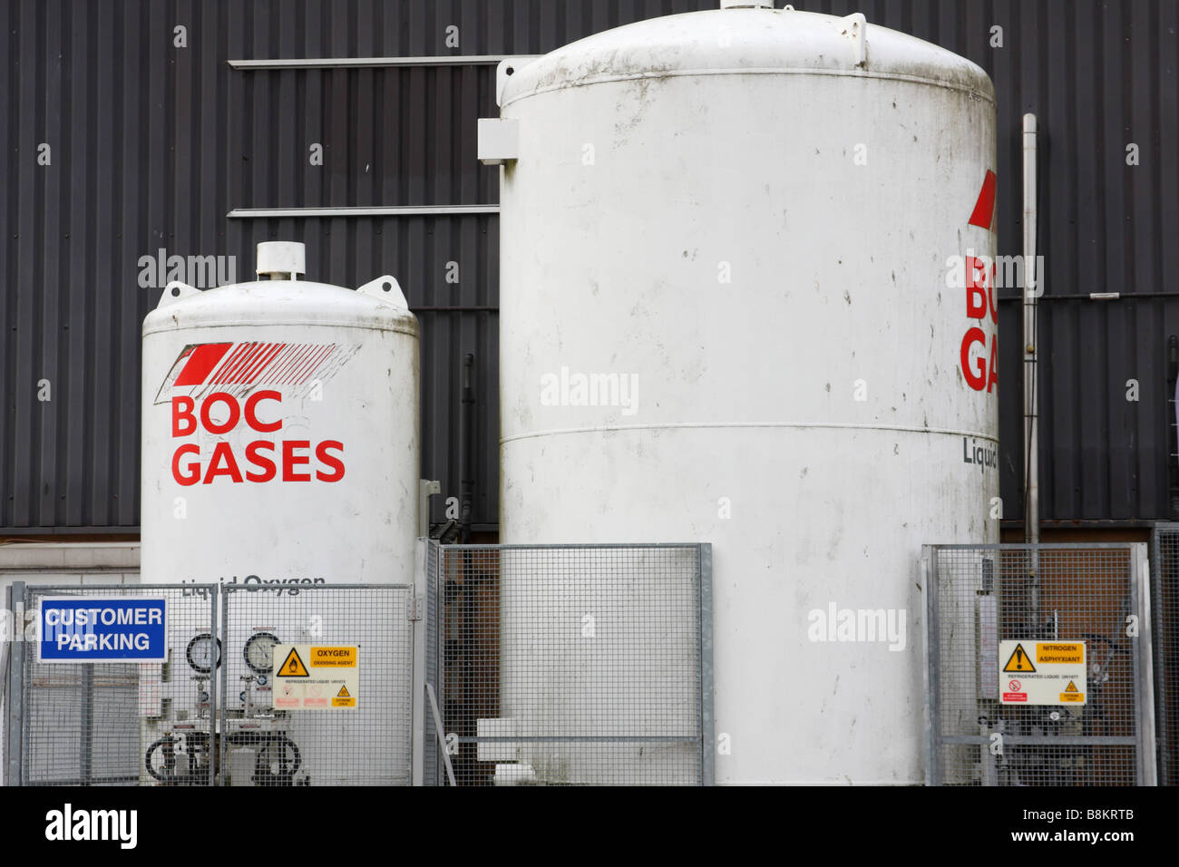 BOC Gas storage tanks on an industrial site in the U.K. - Stock Image