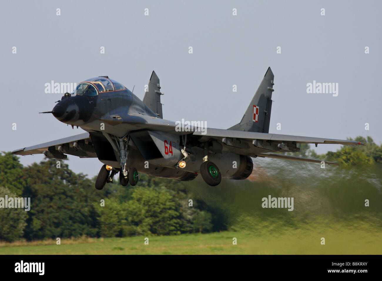 MiG 29 military jet fighter from Polish Air Force taking off - Stock Image