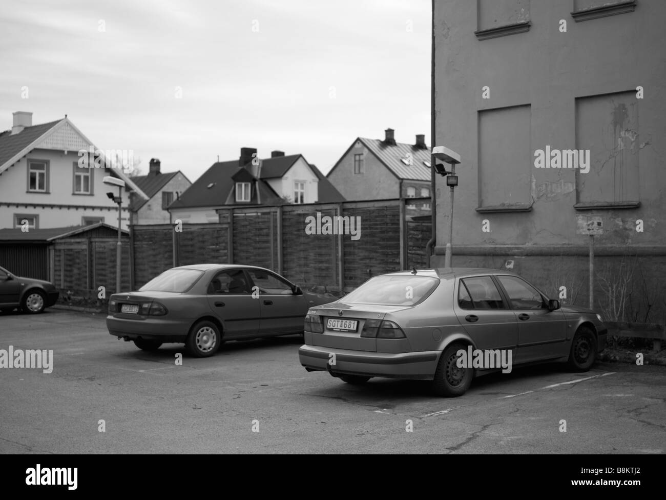 Parked SAAB 9-5 in Helsingborg, Sweden. Picture taken during their big crisis in February 2009. FOR EDITORIAL USE - Stock Image