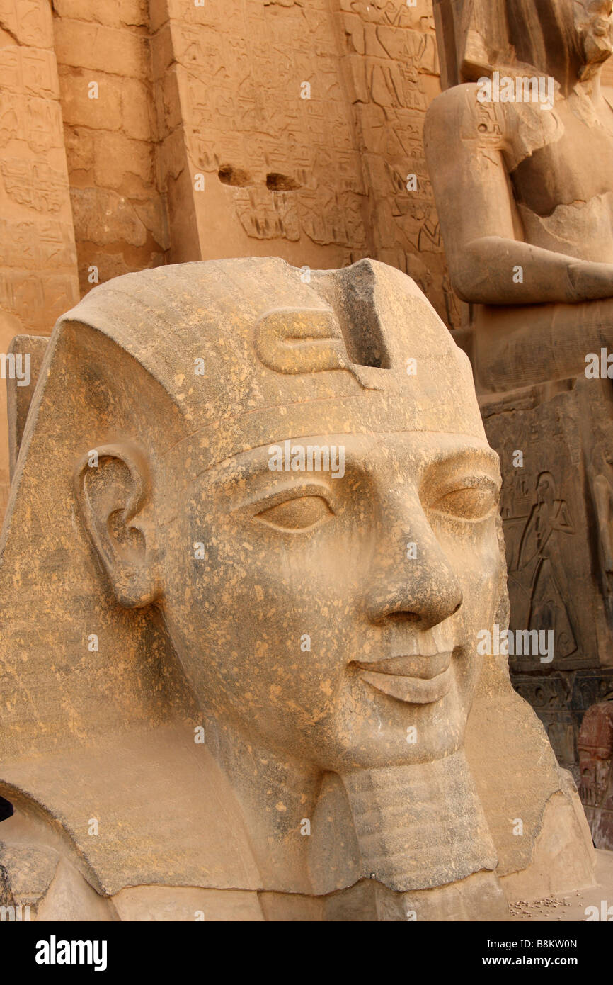 Large stone carved head of pharaoh ramses ii at entrance