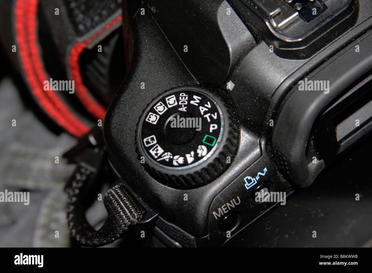 Canon EOS 40D mode selector dial. - Stock Image