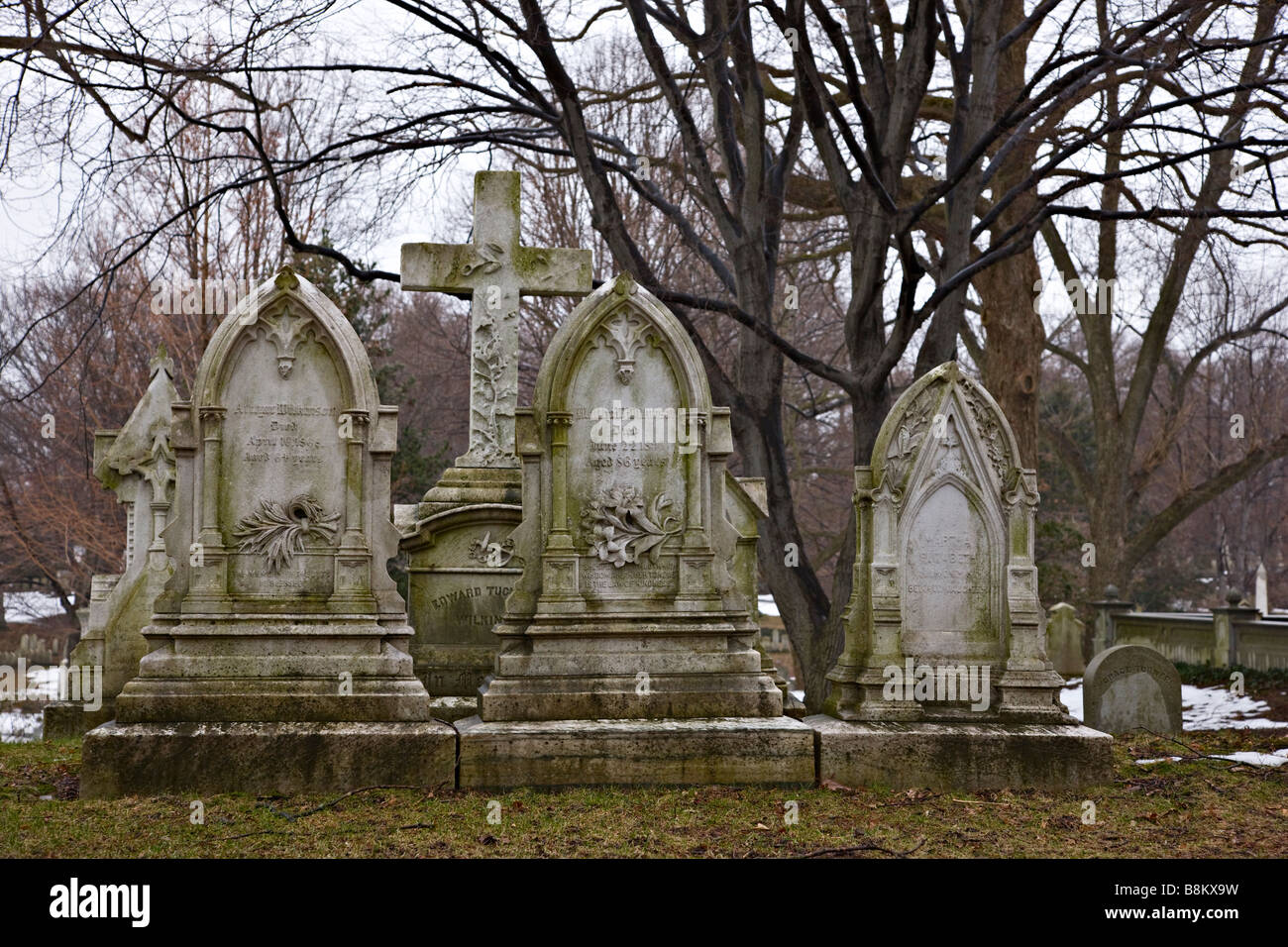 Graves at Mt. Auburn Cemetery, Cambridge, Massachusetts, USA - Stock Image