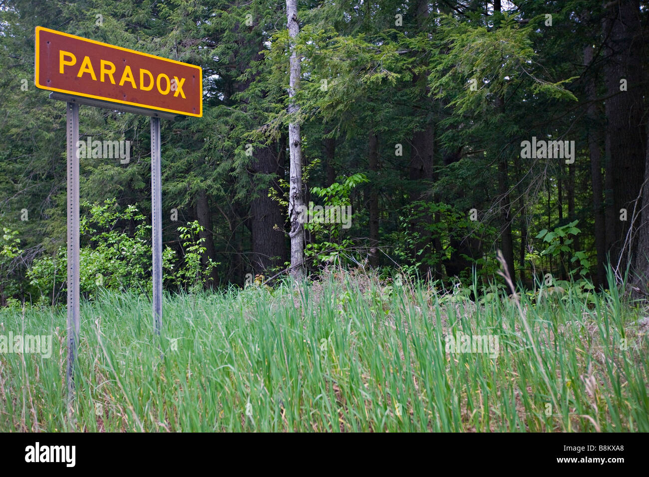 Sign for Paradox Village, New York State, USA Stock Photo