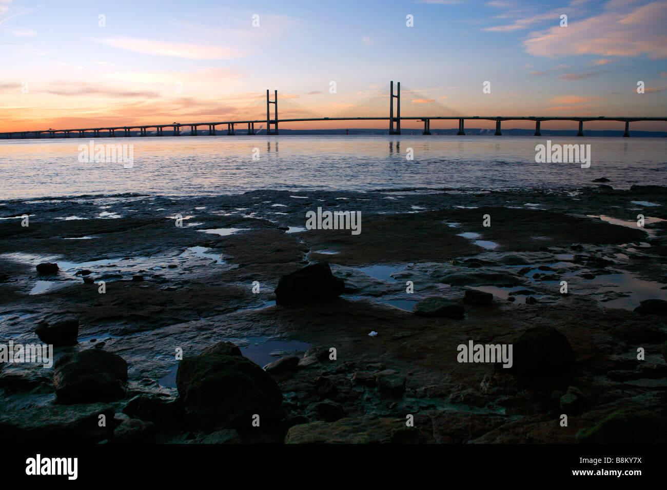 The new Severn Bridge inaugurated in 1996, seen from the Welsh side of the River Severn near Portskewett, Monmouthshire. Stock Photo