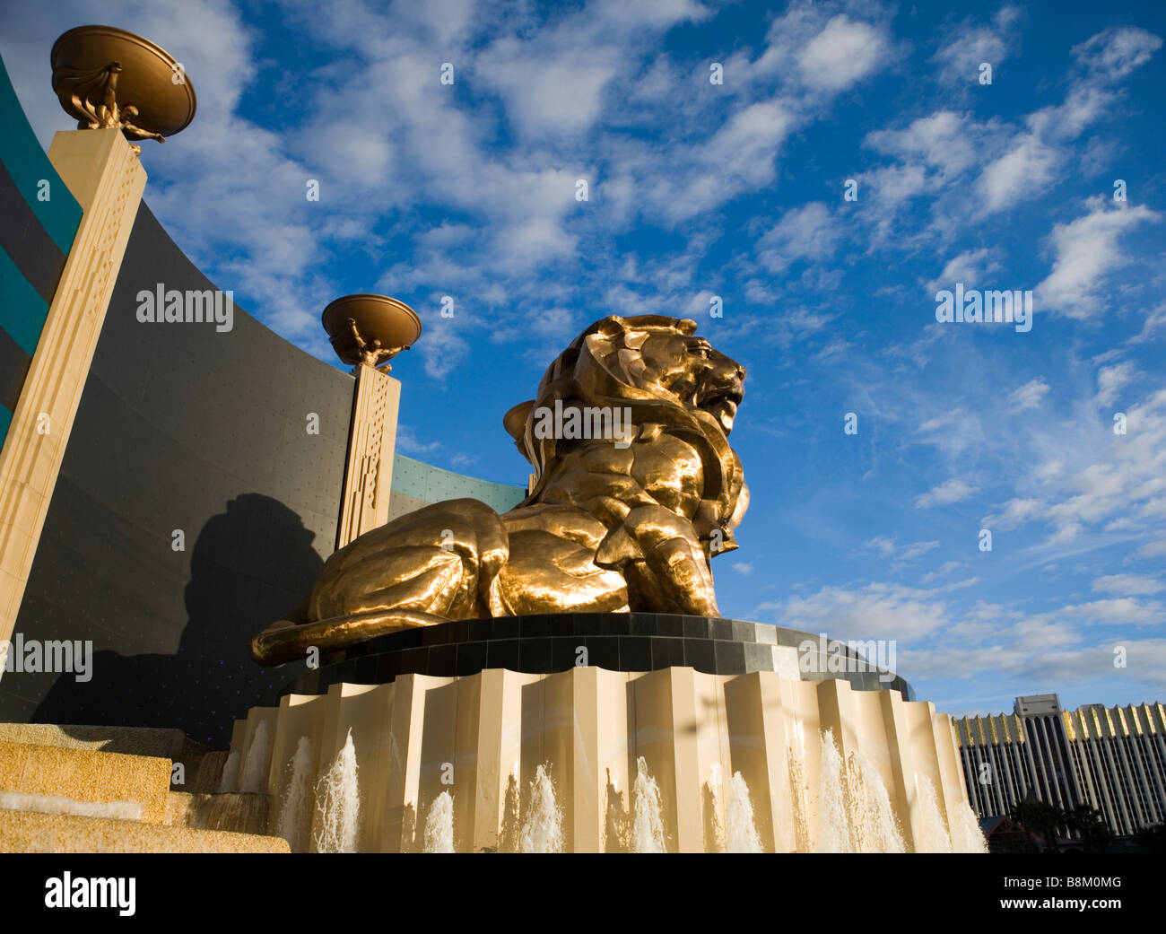 Golden Lion statue at the MGM hotel and casino on the Las Vegas strip, Nevada, USA - Stock Image