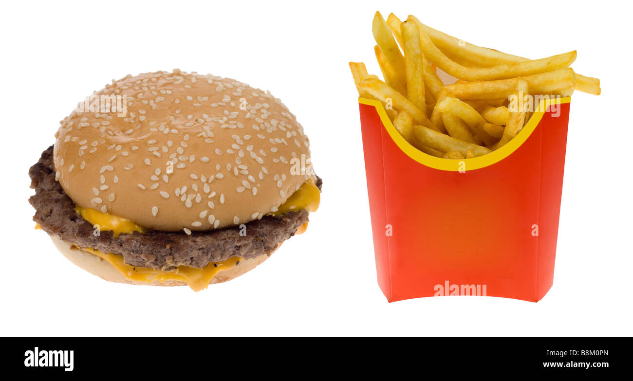 Hamburger and a box of french fries isolated on a white background - Stock Image