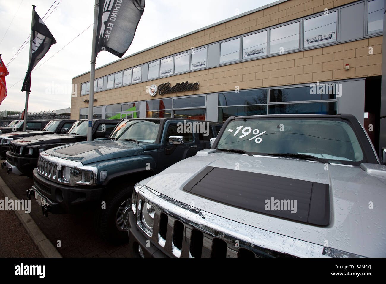 Hummer trucks made by General Motors are seen on a dealer's lot in Hamburg, Germany - Stock Image