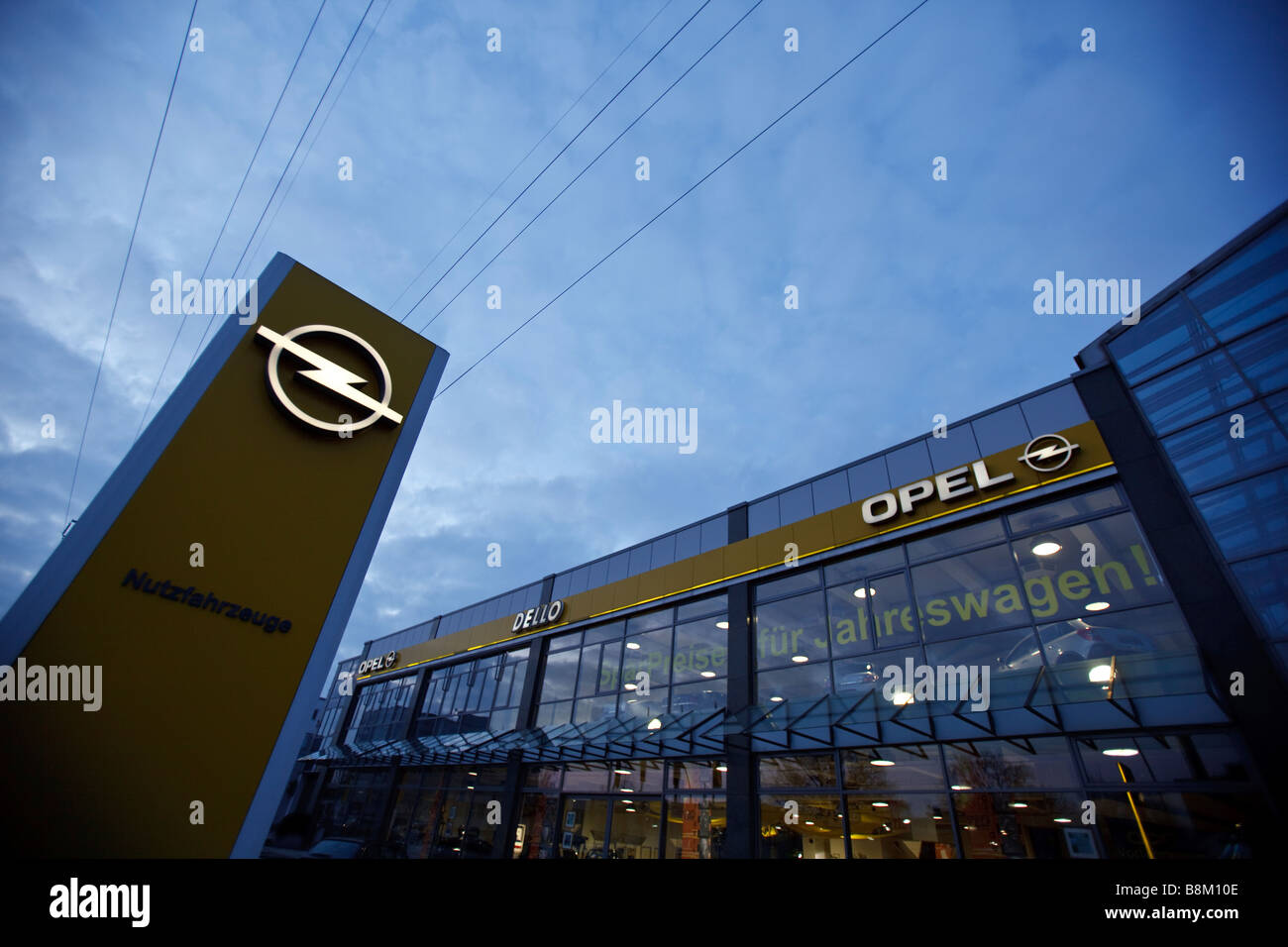 Sign Opel is seen at an car dealership in Hamburg, Germany - Stock Image