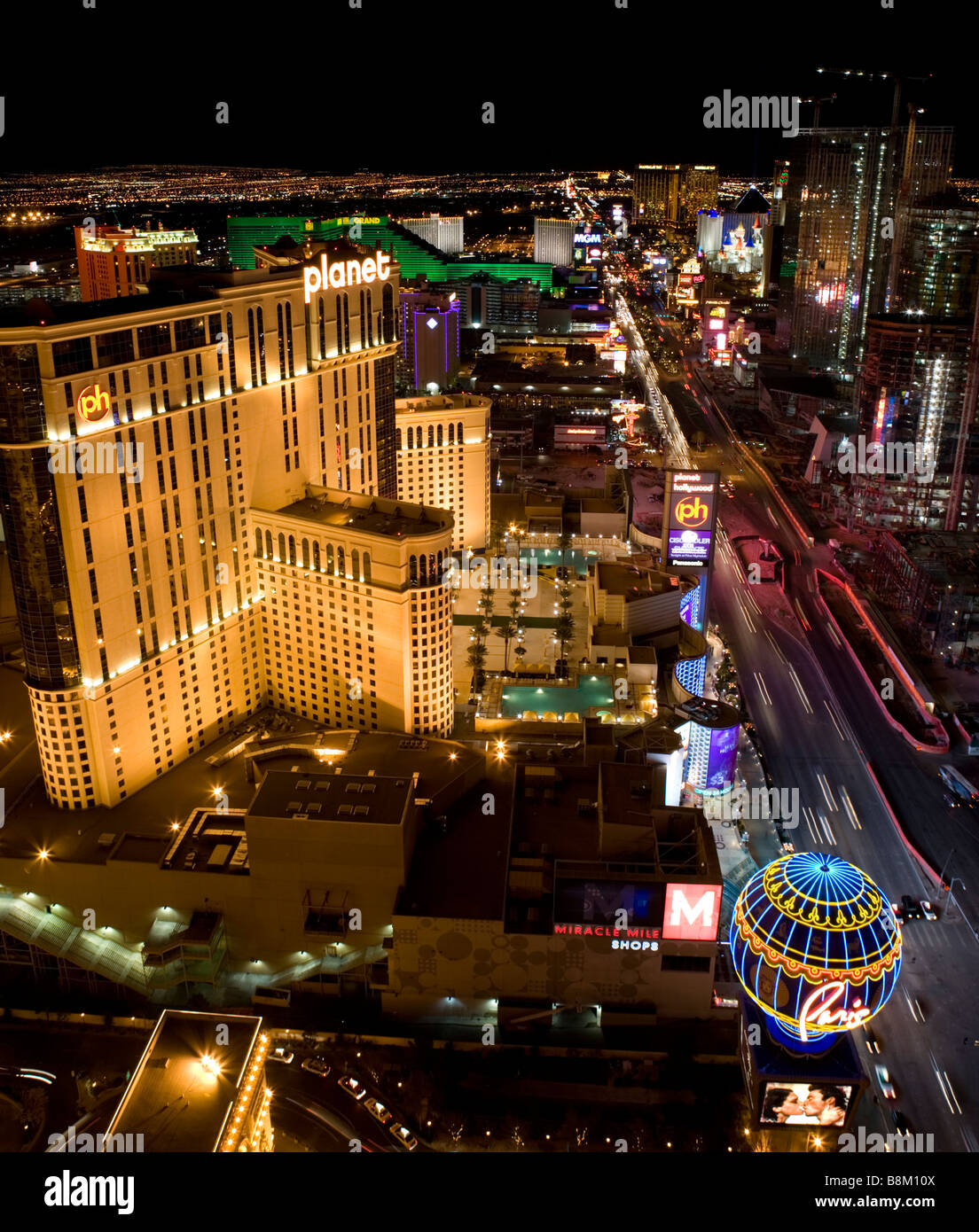 Las Vegas Night View: View Of The Las Vegas Strip At Night From The Top Of The