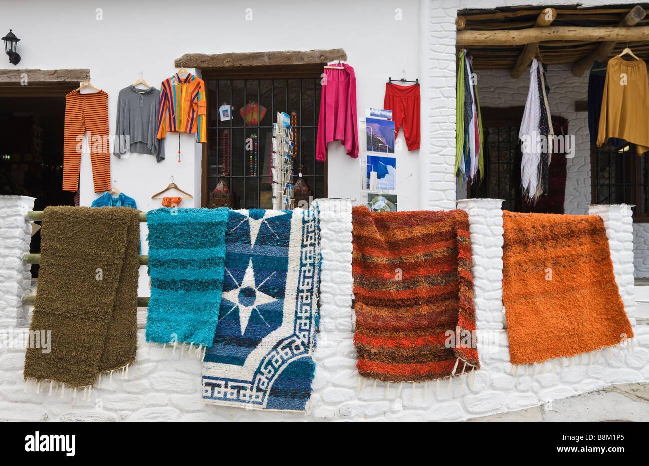 Capileira La Alpujarra Granada Province Spain Jarapas or typical Alpujarran rugs for sale - Stock Image