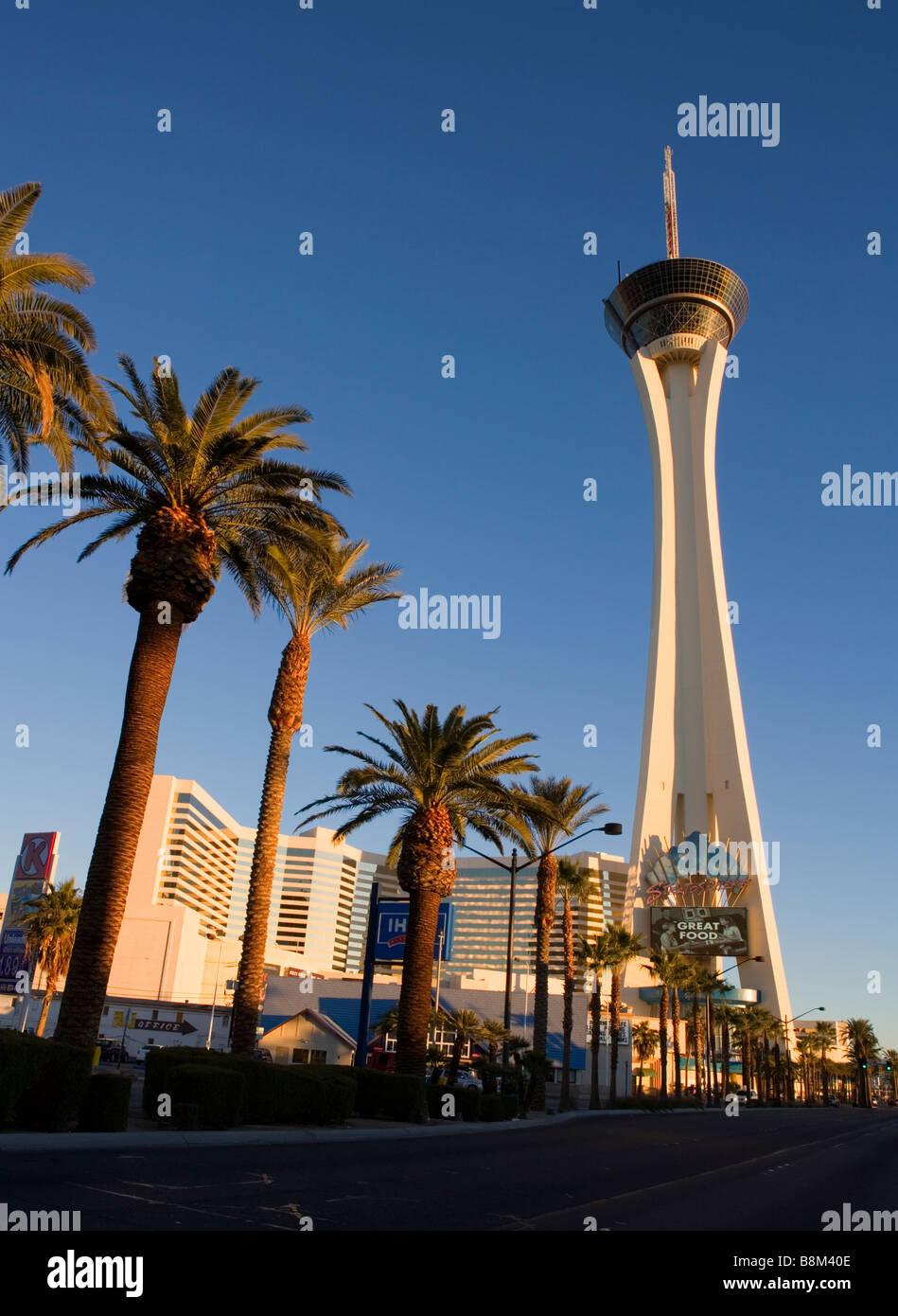 Stratosphere Hotel and Casino on the Las Vegas strip at Sunrise, Nevada, USA - Stock Image