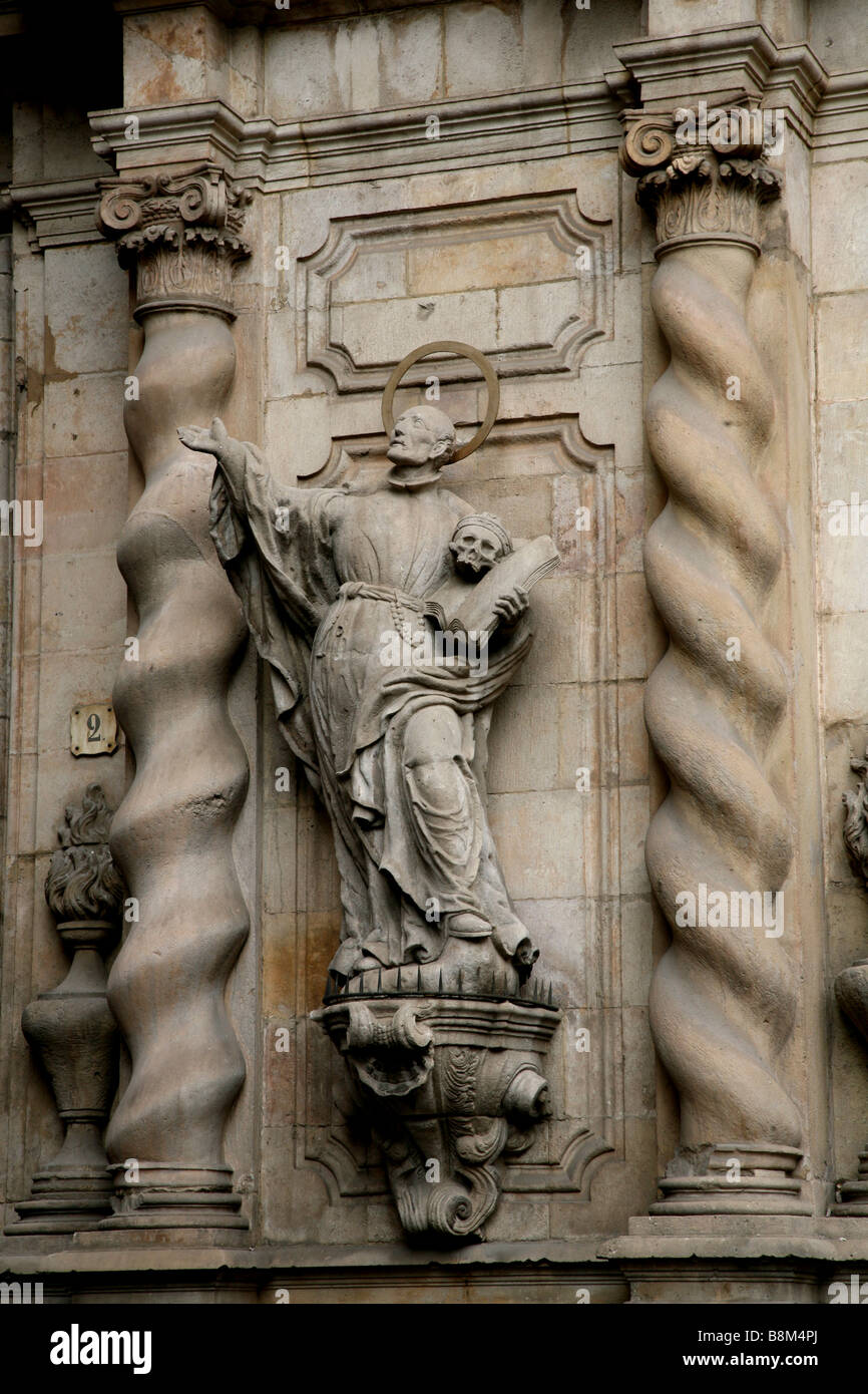 A statue of St. Jerome outside a church next to the market in Barcelona on Las Ramblas. Stock Photo