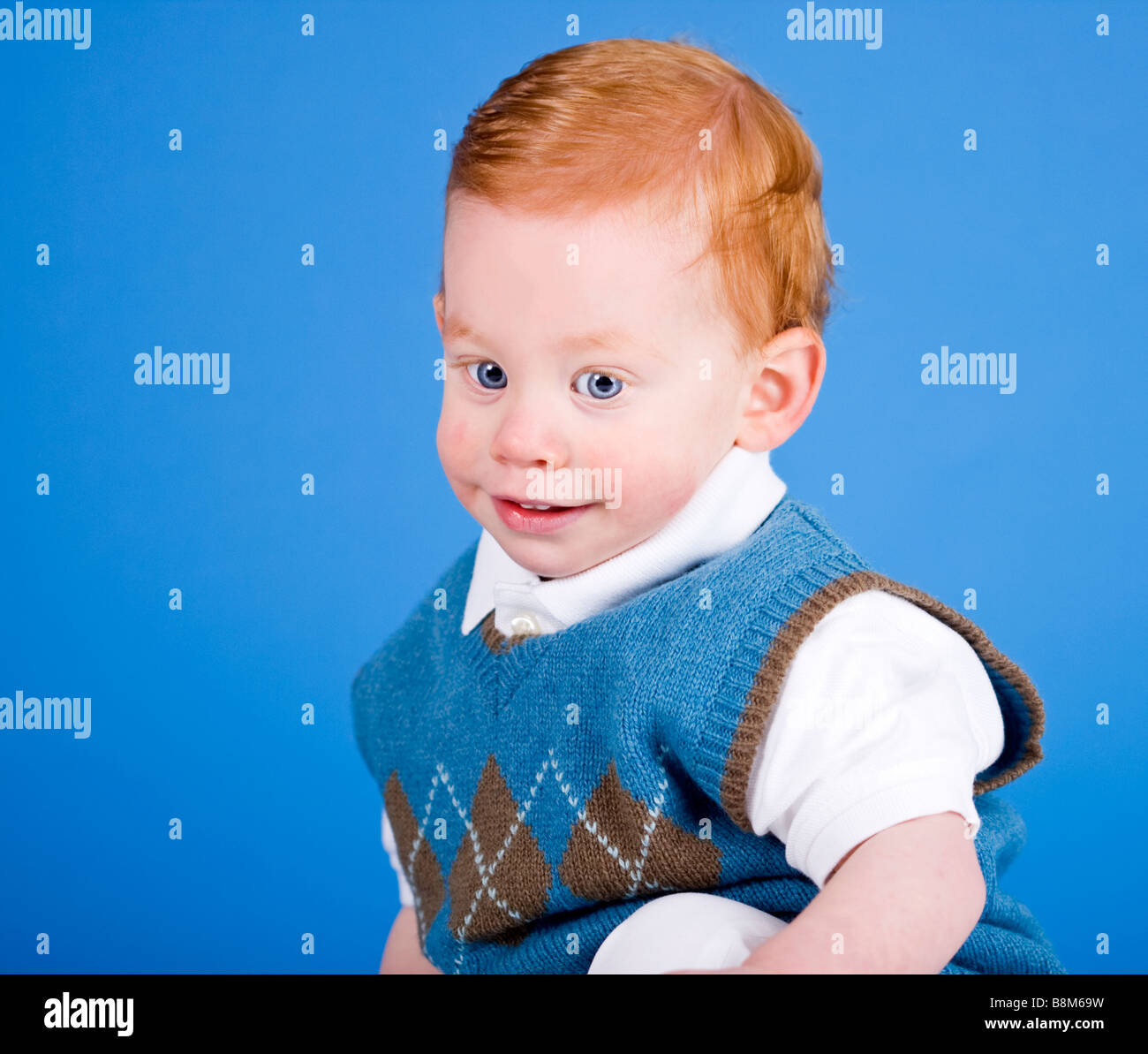 Young Happy Boy With Brown Wet Hair Is Smiling And: Smiling Irish Eyes Stock Photos & Smiling Irish Eyes Stock