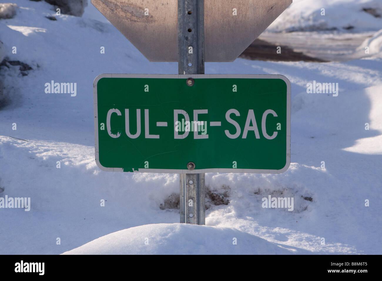 Cul-de-sac , dead-end street sign - Stock Image