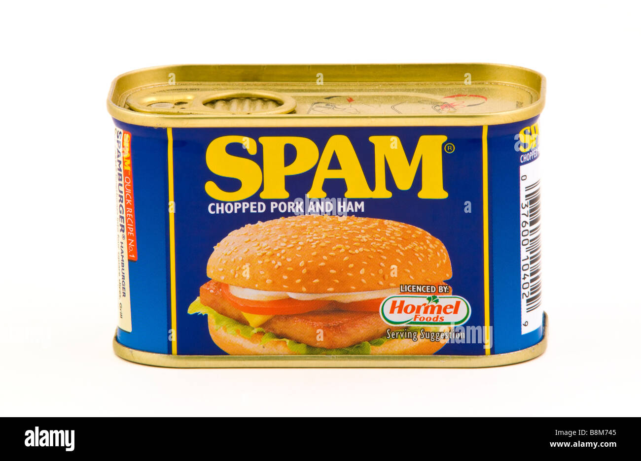 Can of SPAM chopped pork and ham sold in the UK - Stock Image