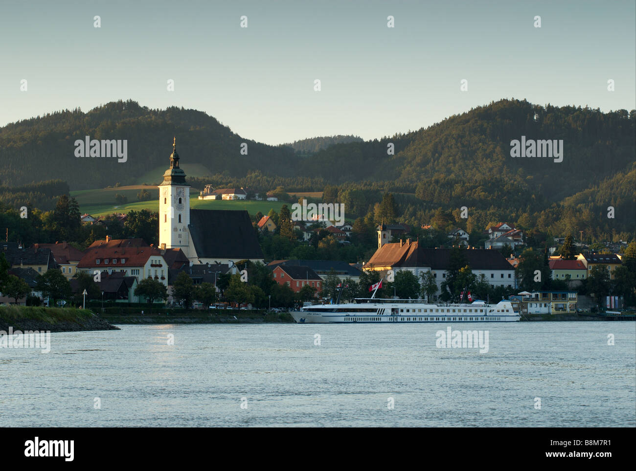 Sunset on the Danube - Stock Image