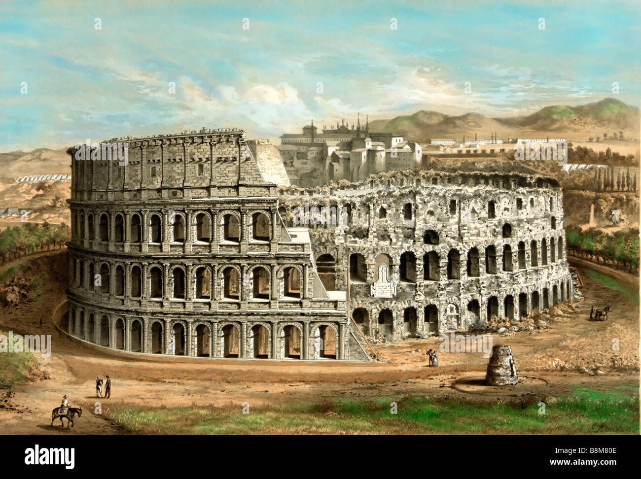 Hand tinted illustration of Coliseum at Rome c. 1872 - Stock Image