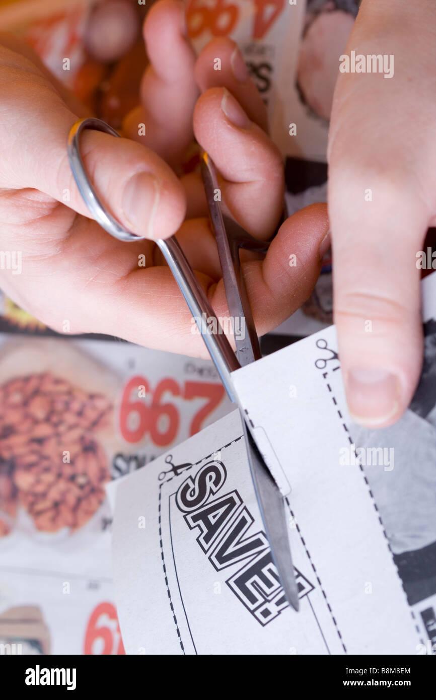 cutting abstract saving coupon Stock Photo