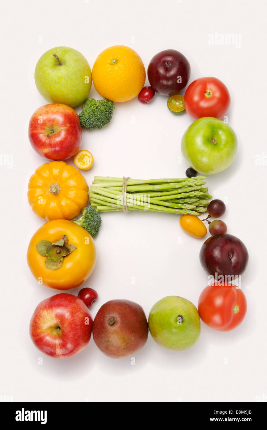 Fruits and vegetables in the shape of letter B close up Stock